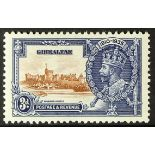 GIBRALTAR 1935 3d brown and deep blue Silver Jubilee, Lightning conductor, SG 115c, dine mint.