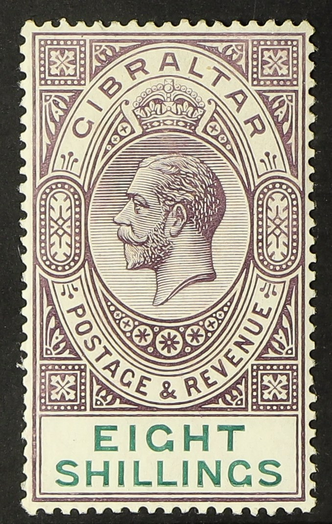 GIBRALTAR 1912-24 8s dull purple and green, SG 84, fine mint. Cat £100.