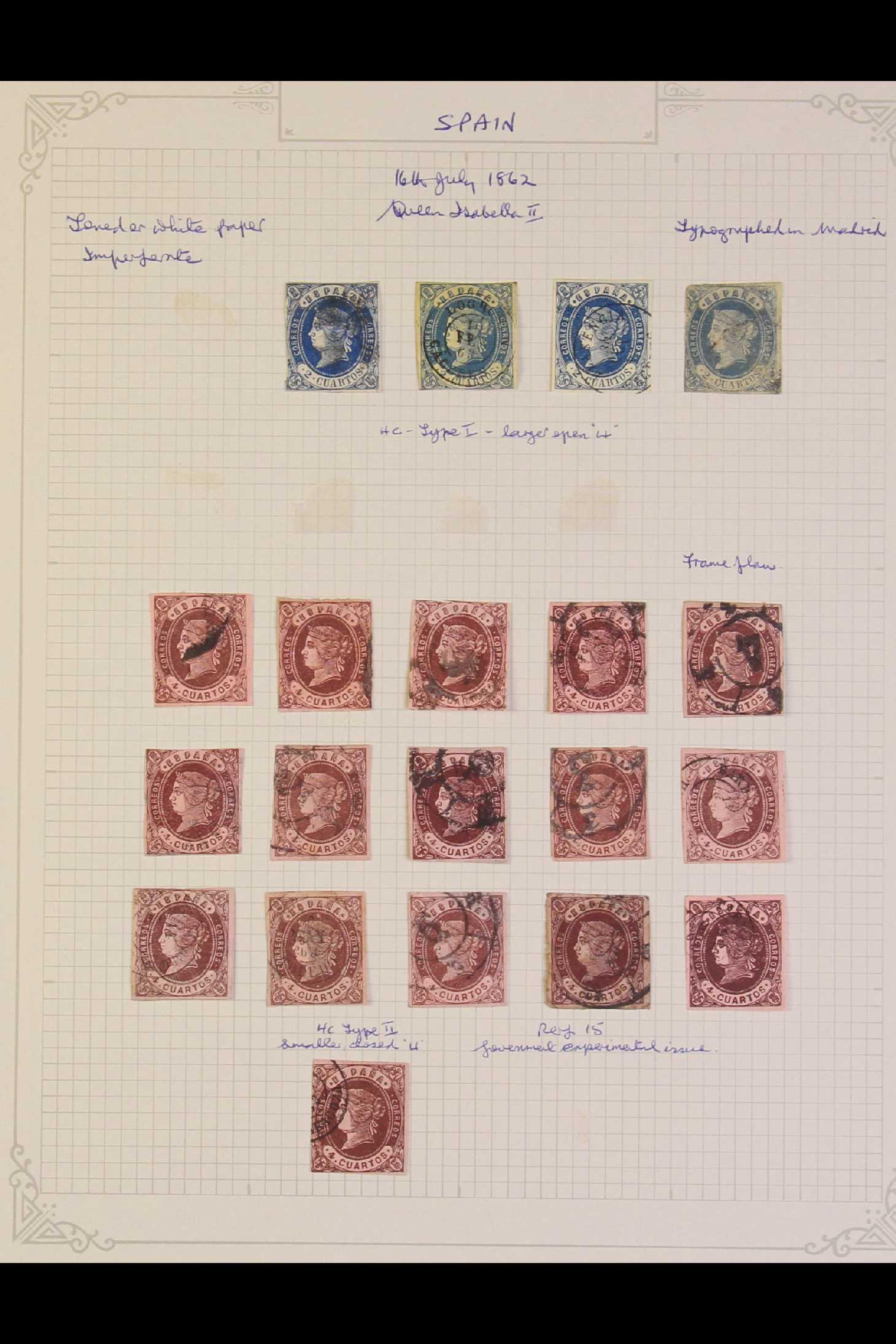SPAIN 1862 Isabella range with2c blue x4, 4c brown on brown x16, 12c blue on rose x10, 19c
