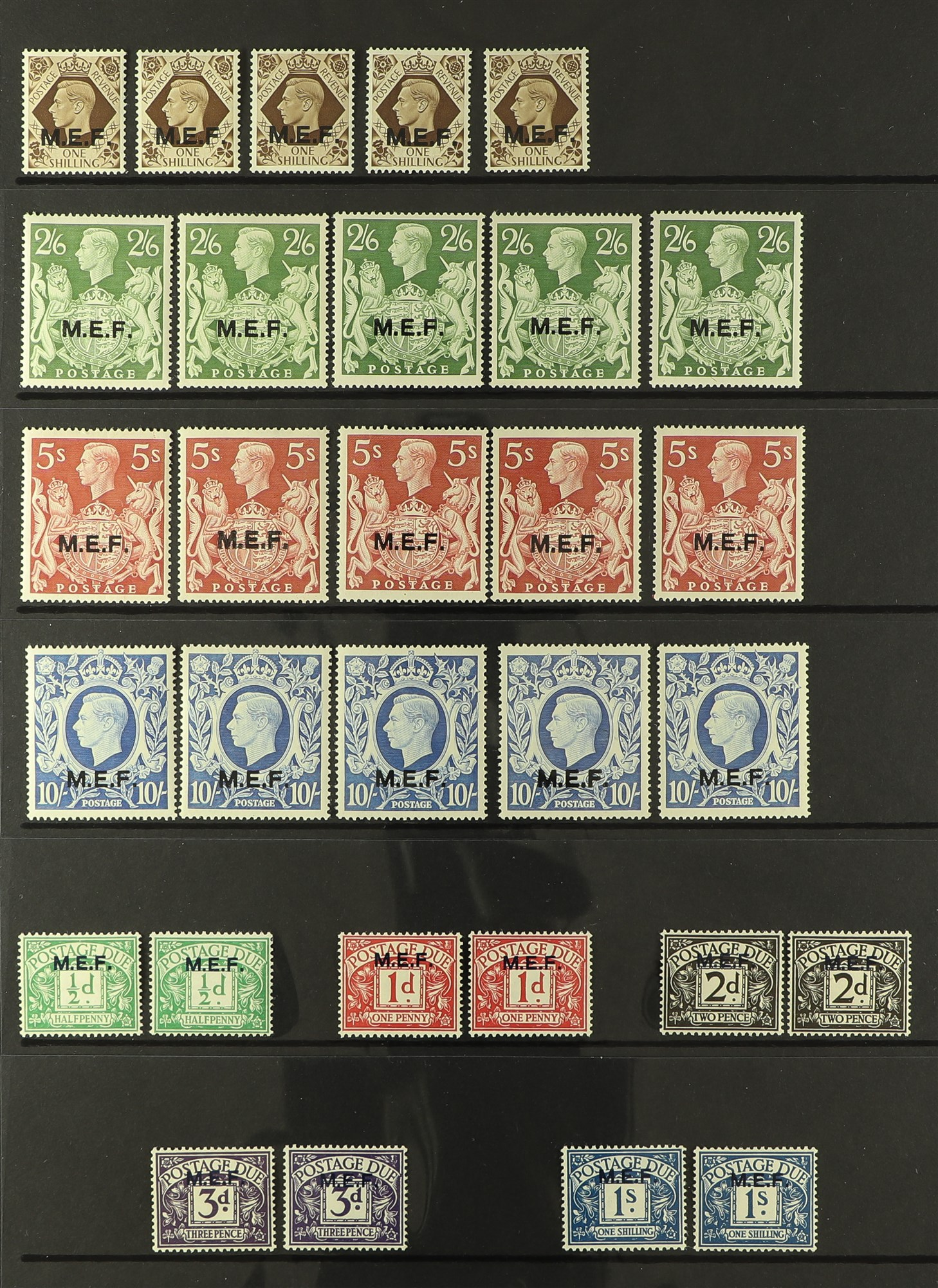 BR. OCC. ITAL. COL. M.E.F. 1942-47 mint range incl. 1942 sets x2, 1943-47 sets x5 & 1942 Postage due