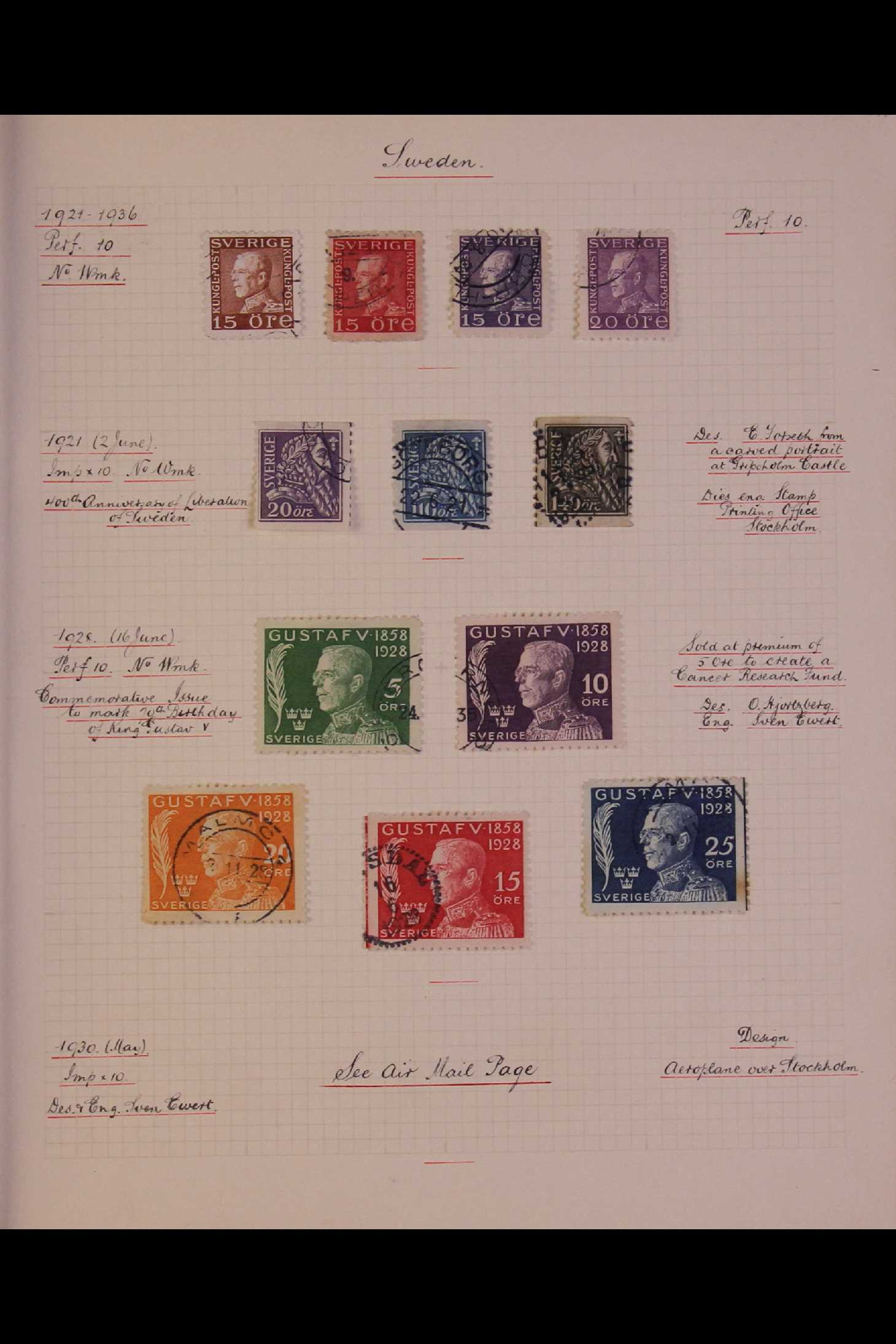 SWEDEN 1903-1966 USED COLLECTION incl. 1903 5k GPO, 1910-19 wmk Crown set, 1916 Landstorm surcharges - Image 7 of 12