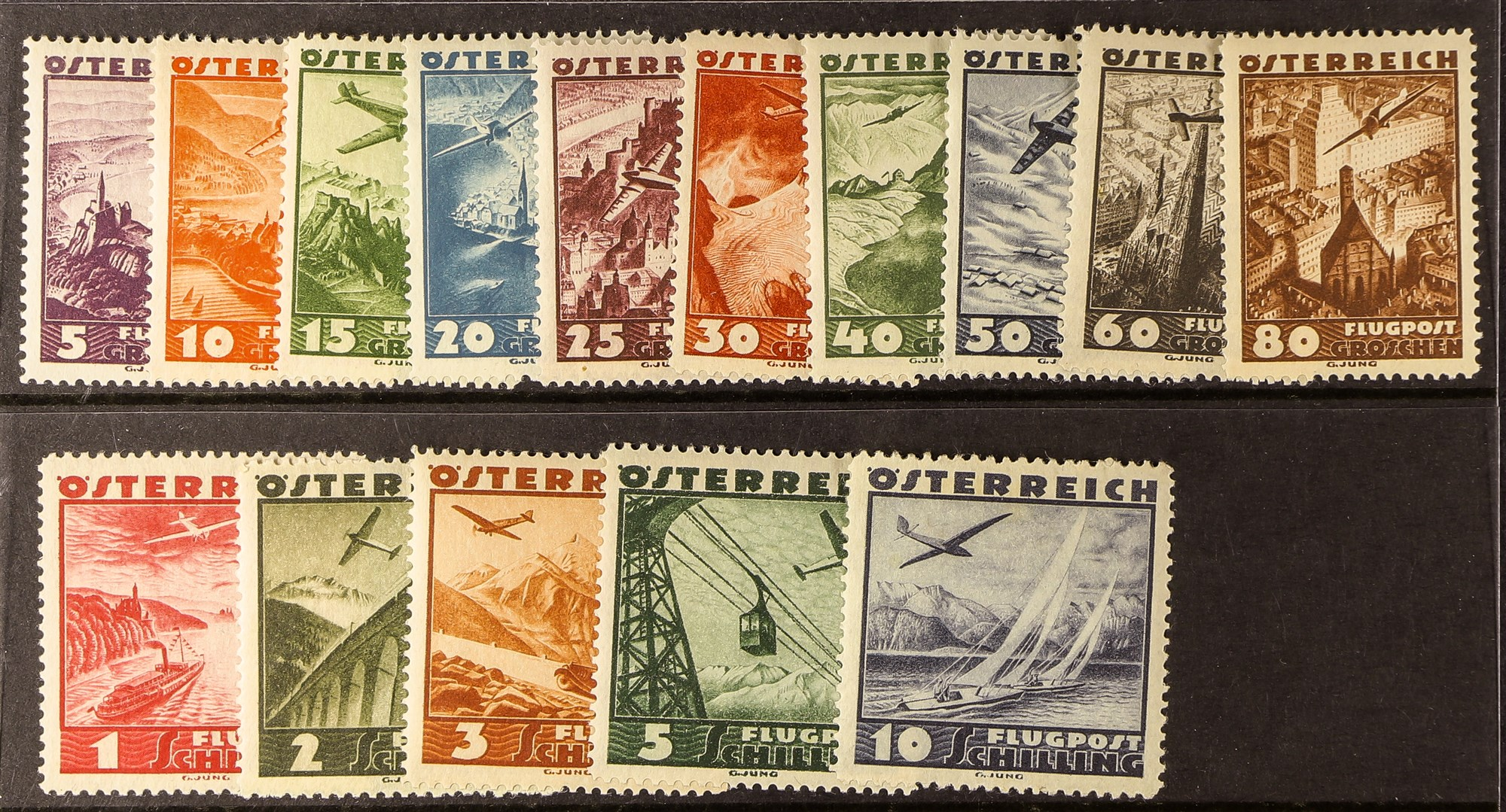 AUSTRIA 1935 Air set, Mi. 598/612, never hinged mint. Cat €190. (15 stamps)