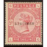 """GB.QUEEN VICTORIA 1884 5s rose SG180, overprinted """"SPECIMEN"""" (type 9), large part gum, tiny hinge"""