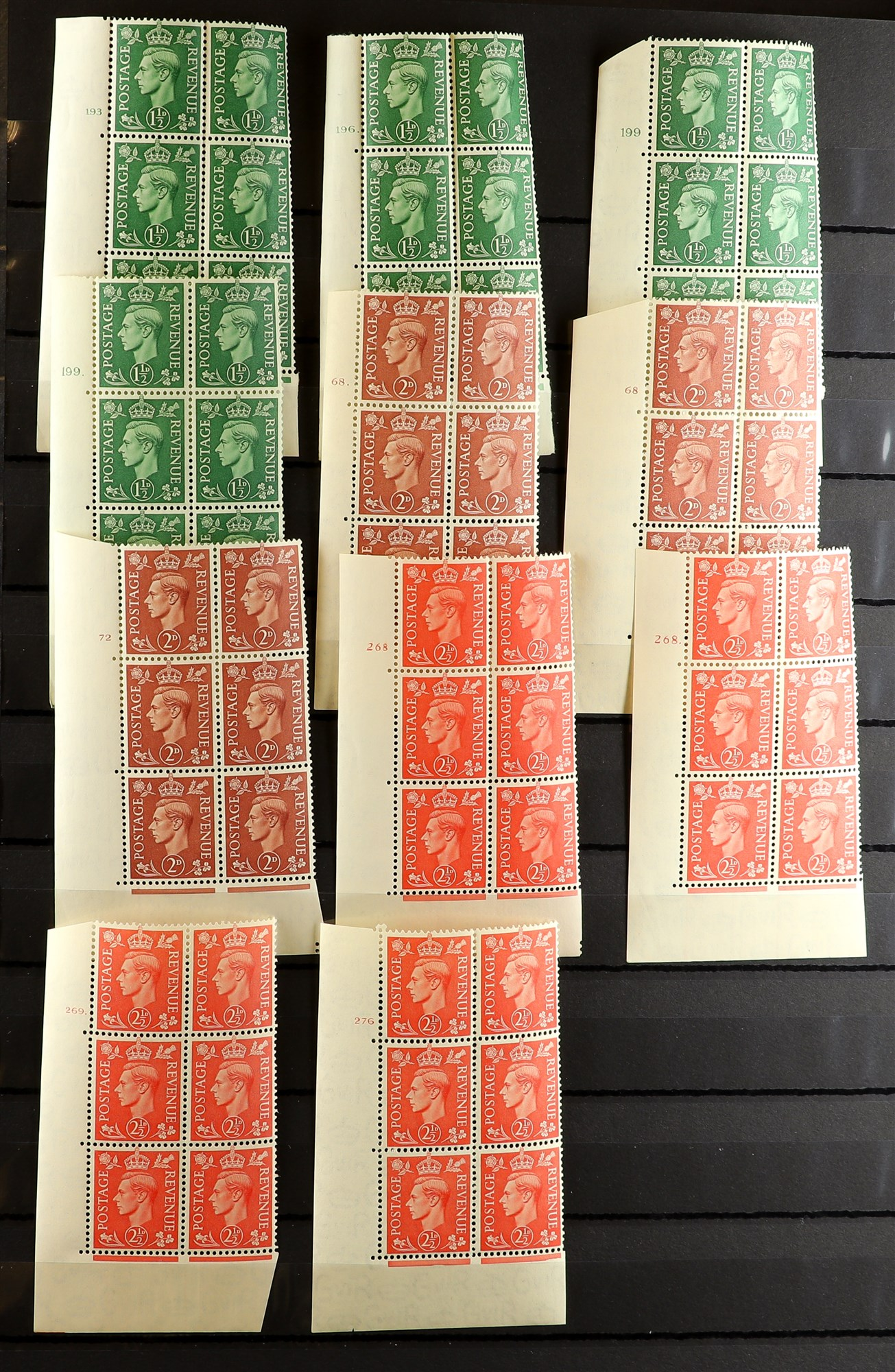 GB.GEORGE VI 1941-42 PALE AND 1950-52 NEW COLOURS CONTROL & CYLINDER BLOCKS OF SIX COLLECTION of all - Image 4 of 6