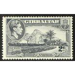 GIBRALTAR 1940 2d grey, the rare perf. 13½ watermark sideways, SG 124ab, superb never hinged mint.