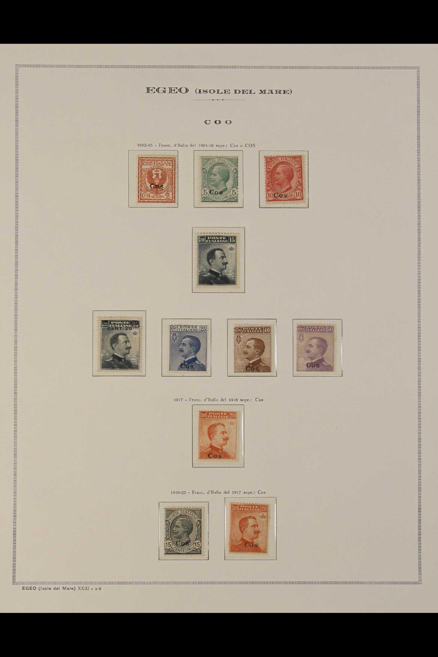 ITALIAN COLONIES EGEO (DODECANESE ISLANDS COS (COO) 1912-1922 complete (Sassone 1/11, SG 3C/13C),