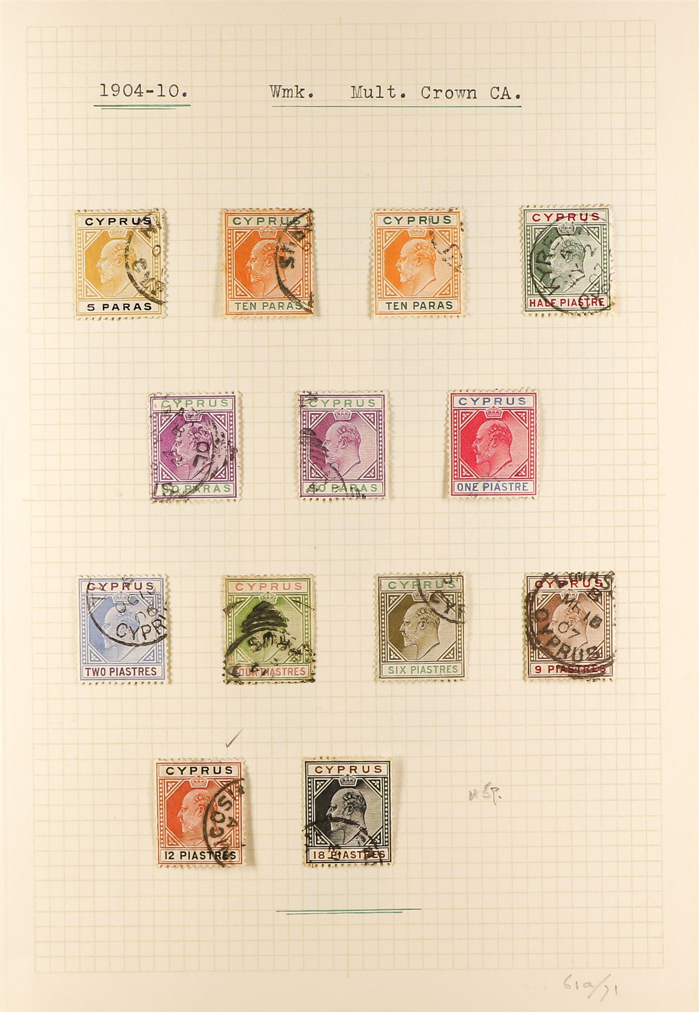 CYPRUS 1880-1935 old used collection incl. 1880 GB overprints including 2½d & ½d plate 15 used, - Image 3 of 7