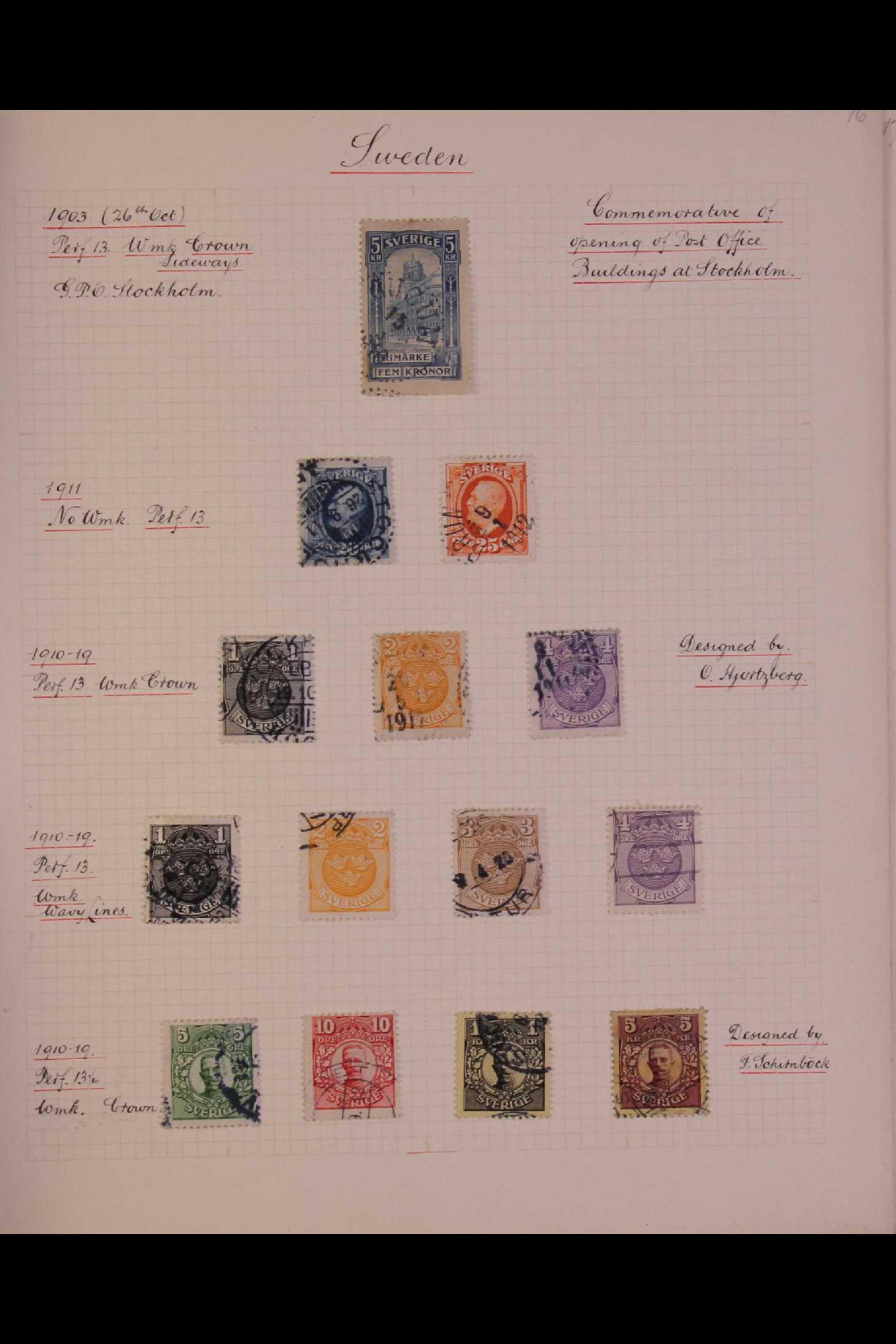 SWEDEN 1903-1966 USED COLLECTION incl. 1903 5k GPO, 1910-19 wmk Crown set, 1916 Landstorm surcharges