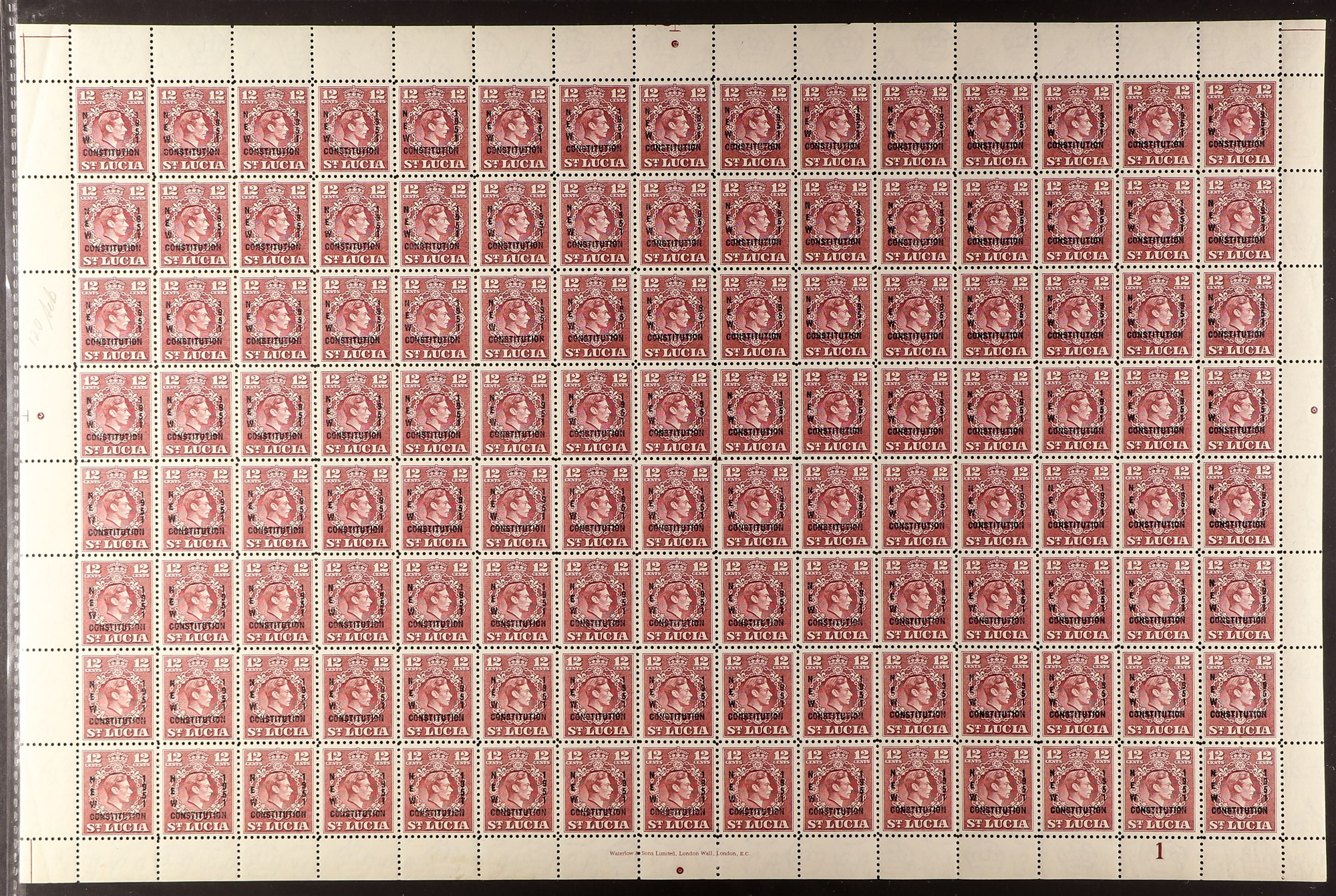 ST LUCIA 1951 New Constitution set, SG 167/70, in sheets of 120 (15 x 8), never hinged mint. Cat £