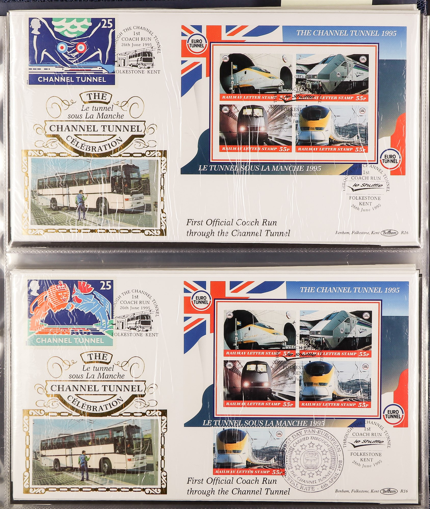 GREAT BRITAIN CHANNEL TUNNEL 1994-2001 BENHAM COVERS COLLECTION in an album, all different. (45