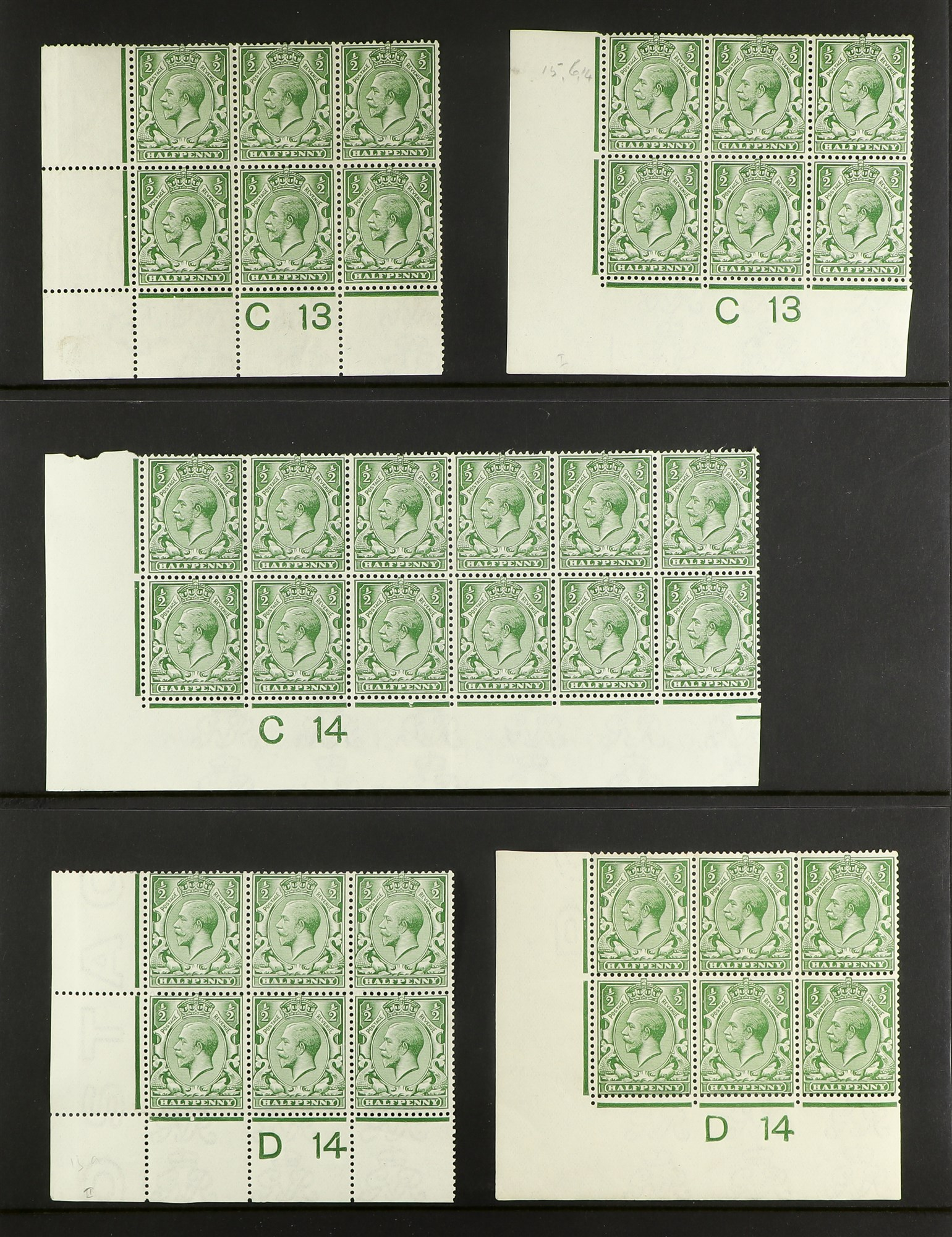 GB.GEORGE V 1912-24 Control blocks of six (one larger) with ½d (18) and 1d (3), mint. (21 items)