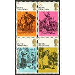 GB.ELIZABETH II 1970 LITERARY ANNIVERSARIES 5d block of four, SG 824a, showing the Oliver with