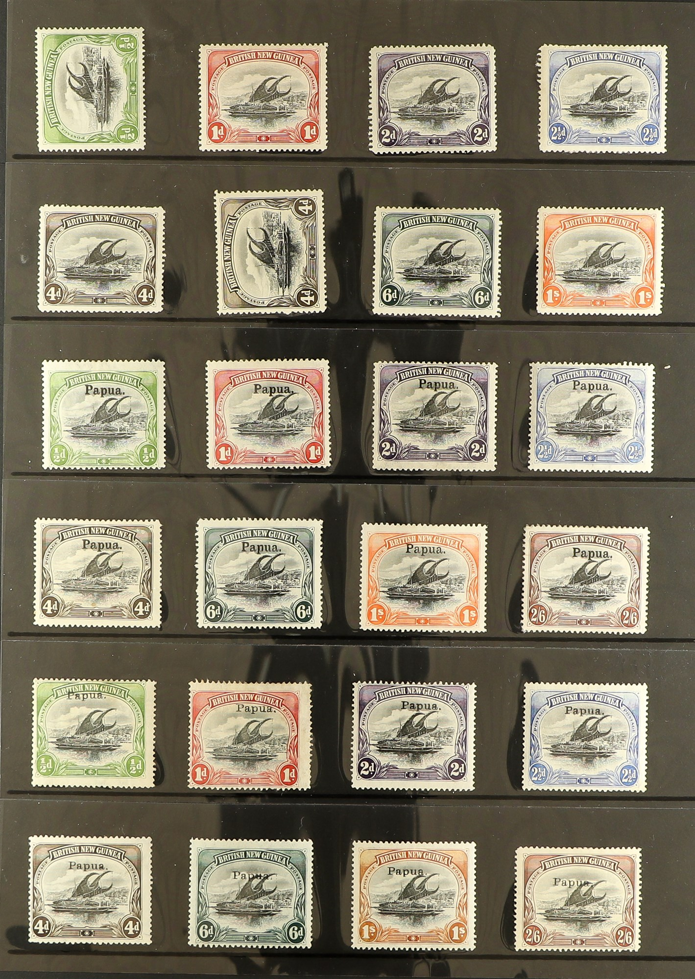 PAPUA 1901-06 MINT COLLECTION incl. 1901-05 British New Guinea set to 1s (most wmk horizontal),