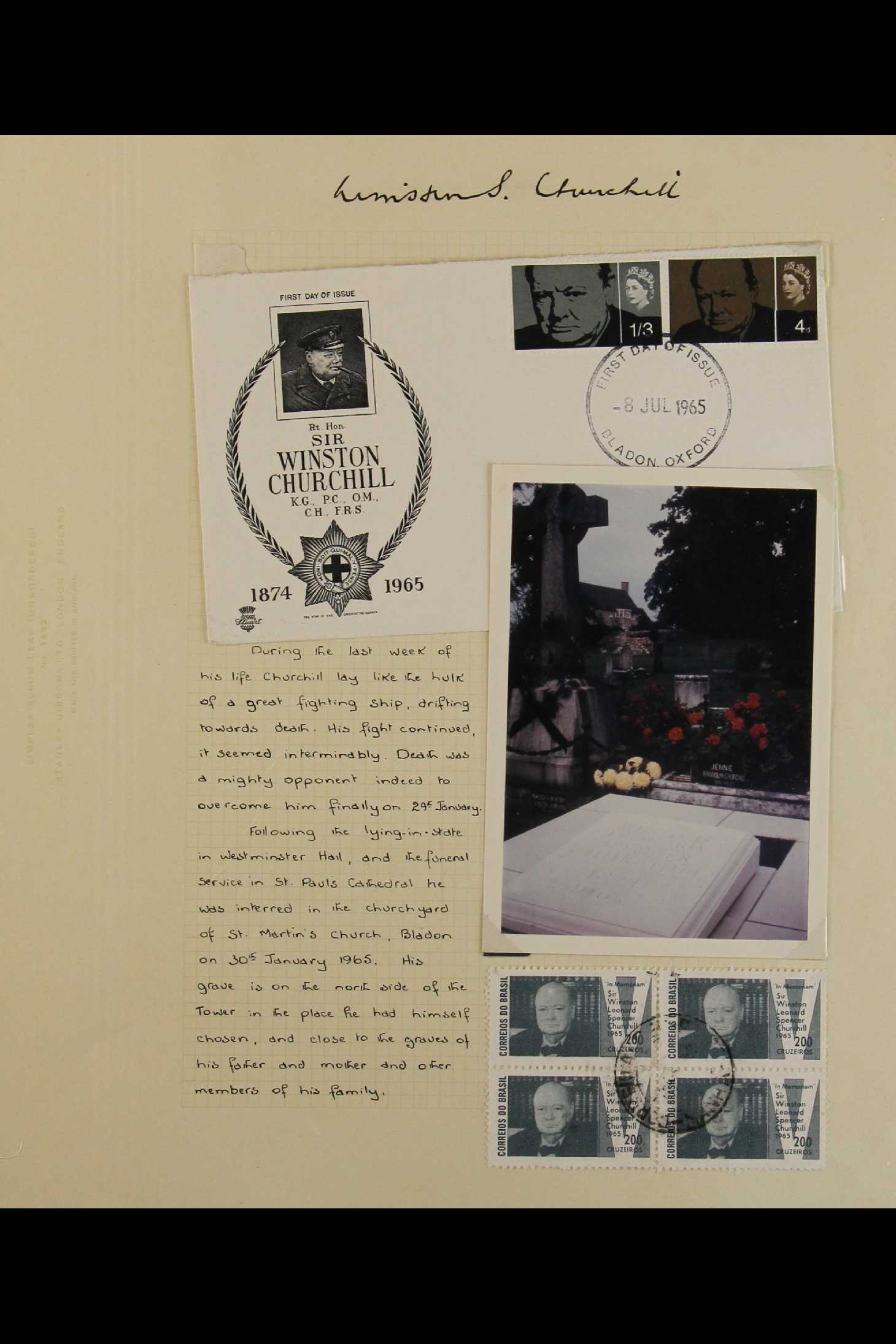 TOPICALS WINSTON CHURCHILL 1965-74 collection incl. 1965 sets on illustrated unaddressed FDC's incl. - Image 5 of 9