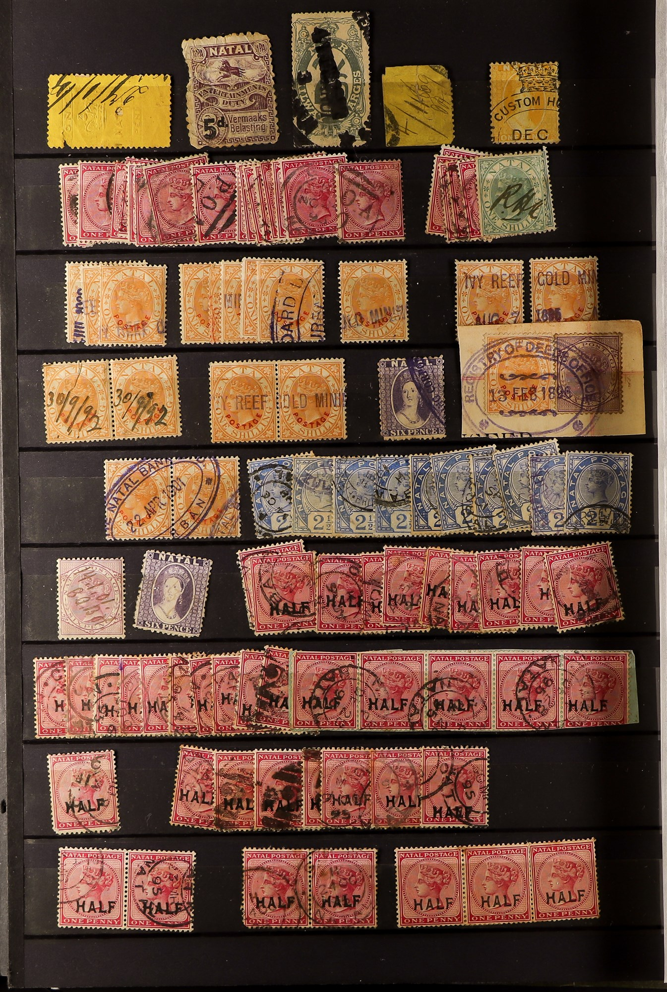 SOUTH AFRICA -COLS & REPS NATAL 1859-1899 collection with values to 5s (mostly used), 1860 rough