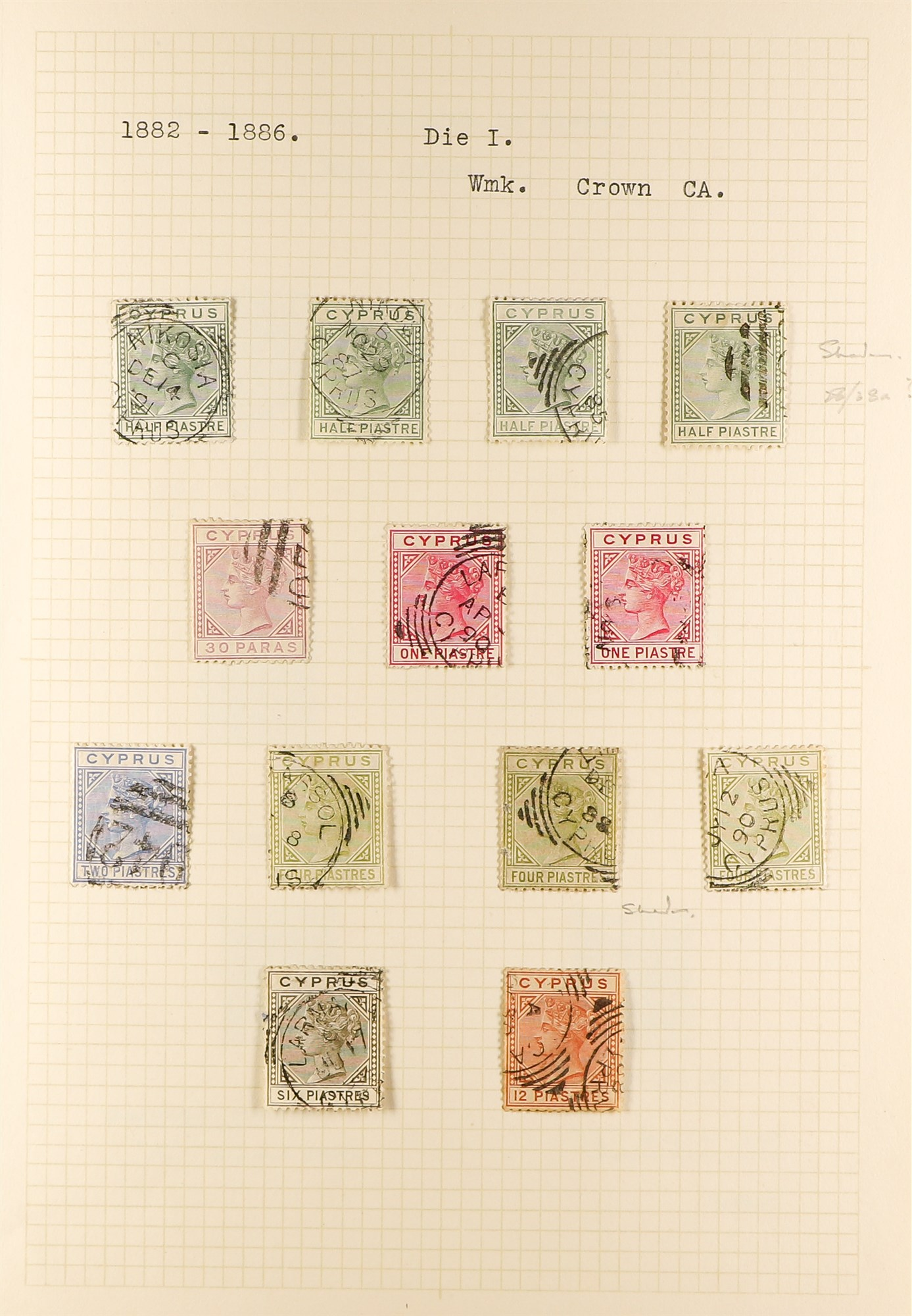 CYPRUS 1880-1935 old used collection incl. 1880 GB overprints including 2½d & ½d plate 15 used, - Image 2 of 7