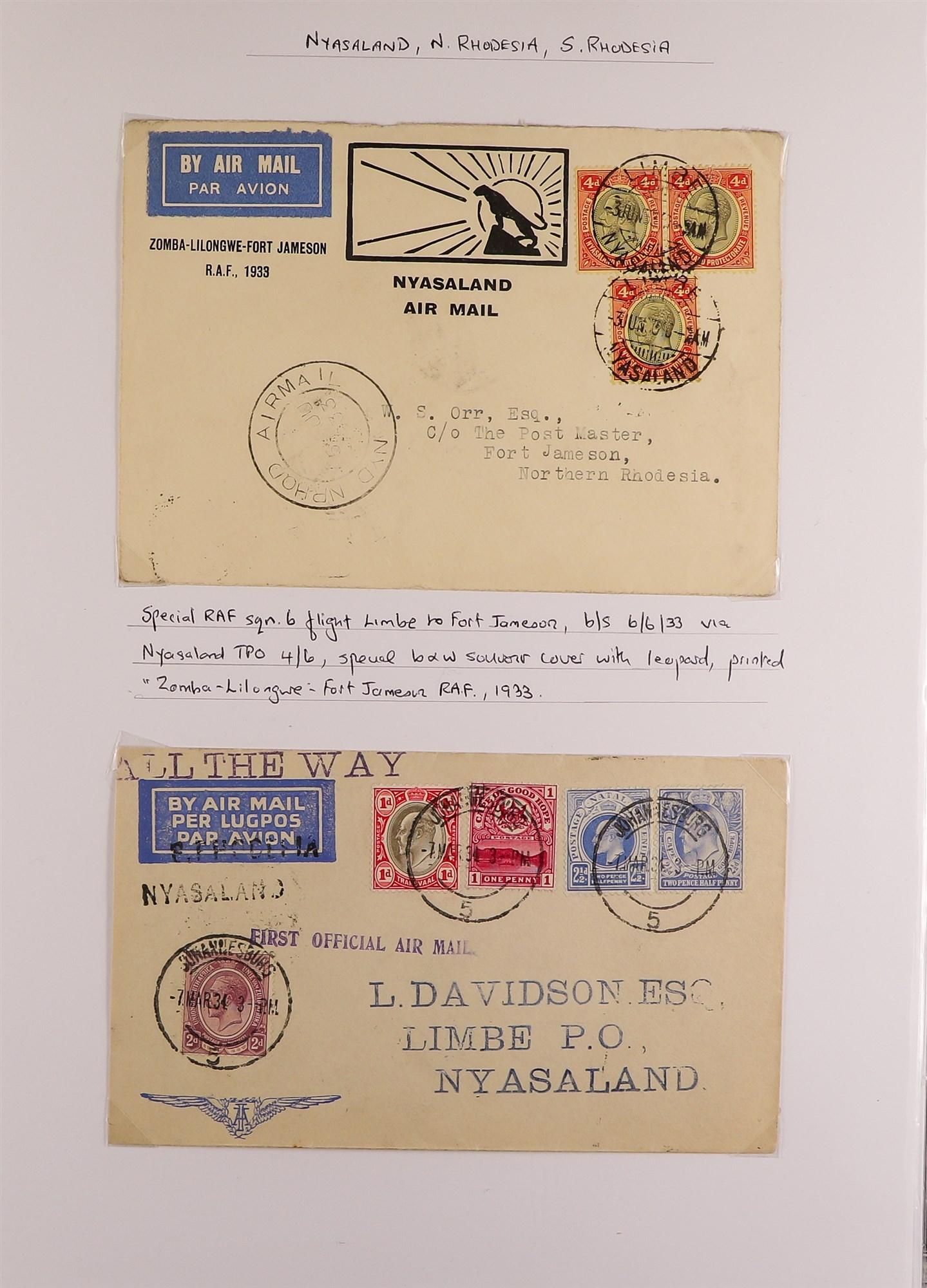RHODESIA AIRMAIL COVERS COLLECTION 1930's-60's with Rhodesian & Nyasaland Airways (15), Nyasaland- - Image 3 of 10