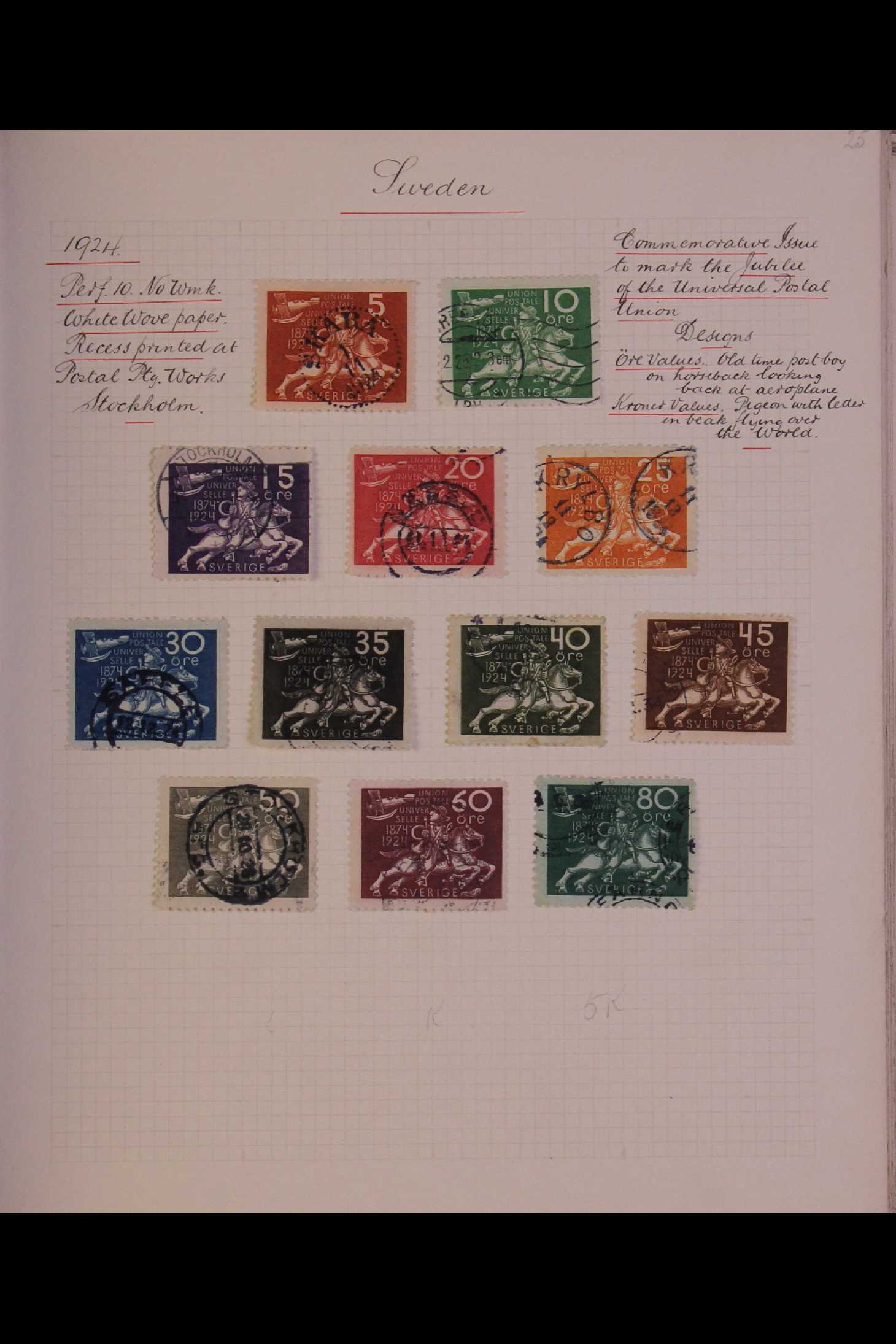 SWEDEN 1903-1966 USED COLLECTION incl. 1903 5k GPO, 1910-19 wmk Crown set, 1916 Landstorm surcharges - Image 9 of 12