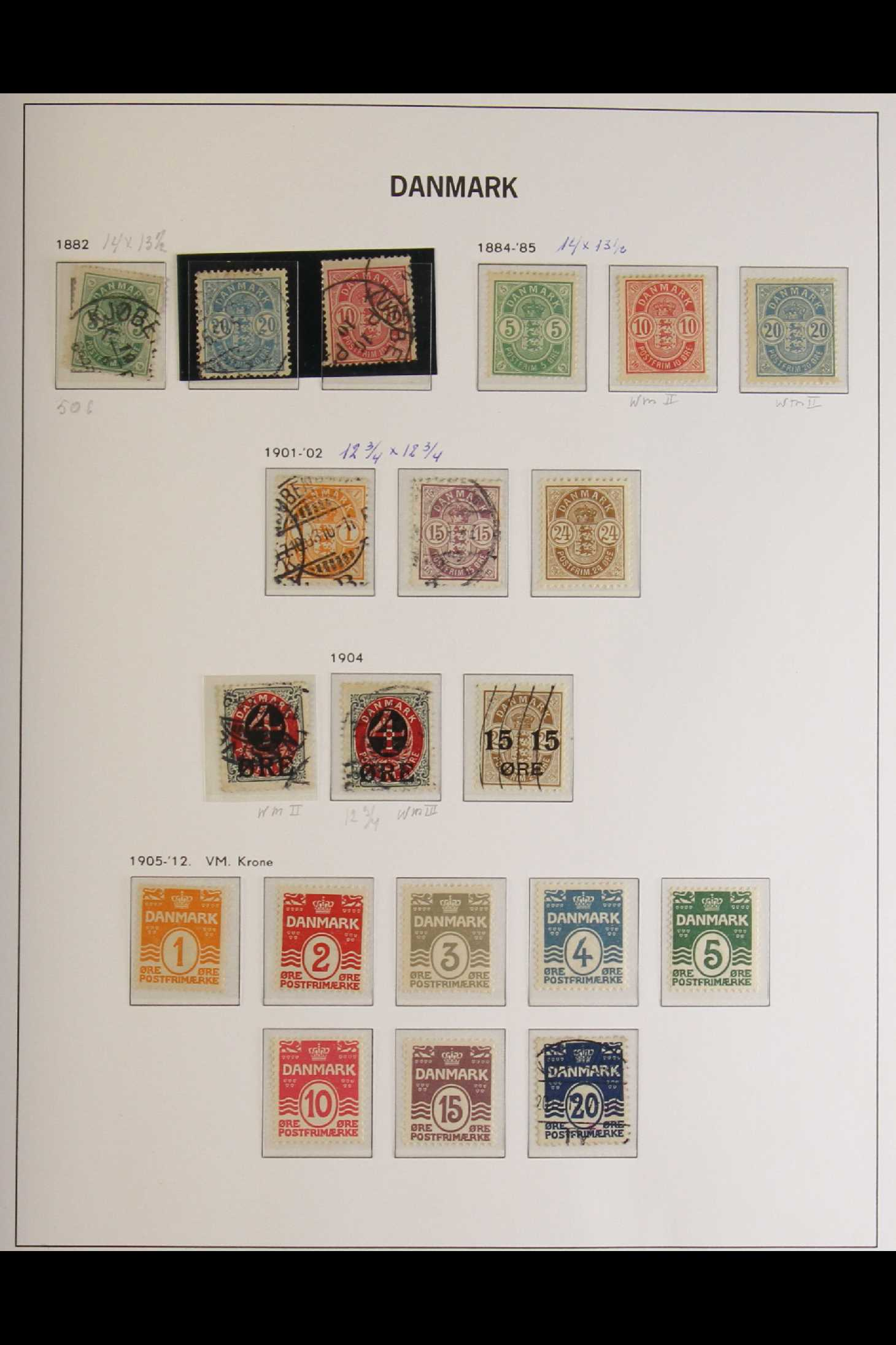 DENMARK 1882-1969 mint and used collection in an album incl. 1882 (small corner figures) 5 ore and