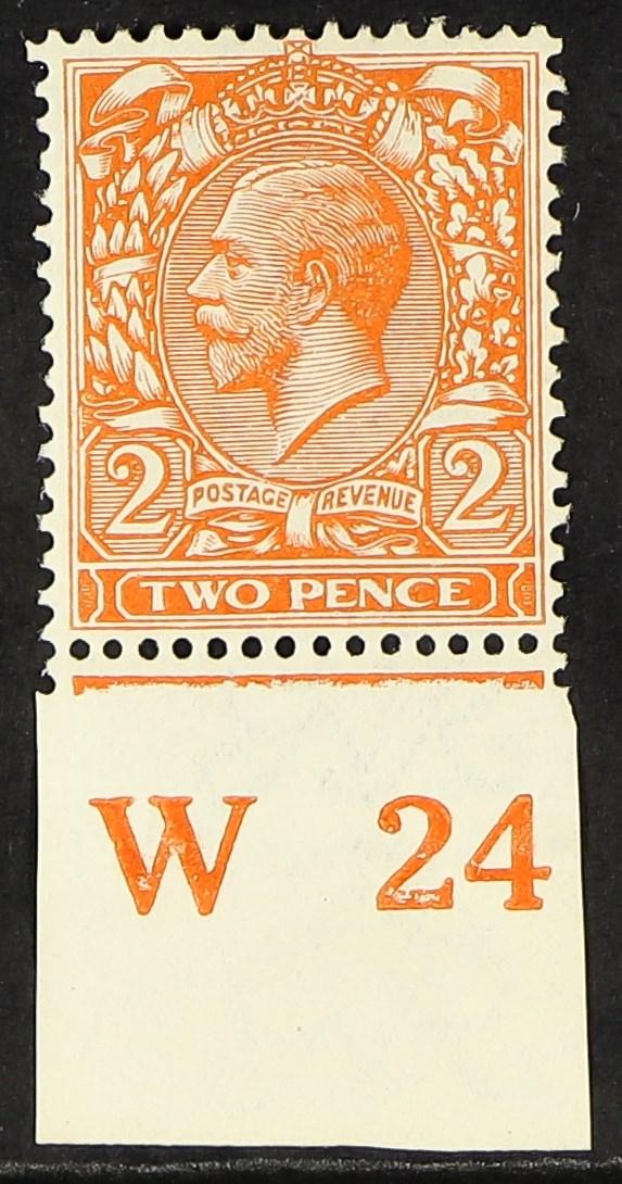 "GB.GEORGE V 1921 2d orange Die II, SG 370, with ""W24"" control in margin, fine mint, cat £300."