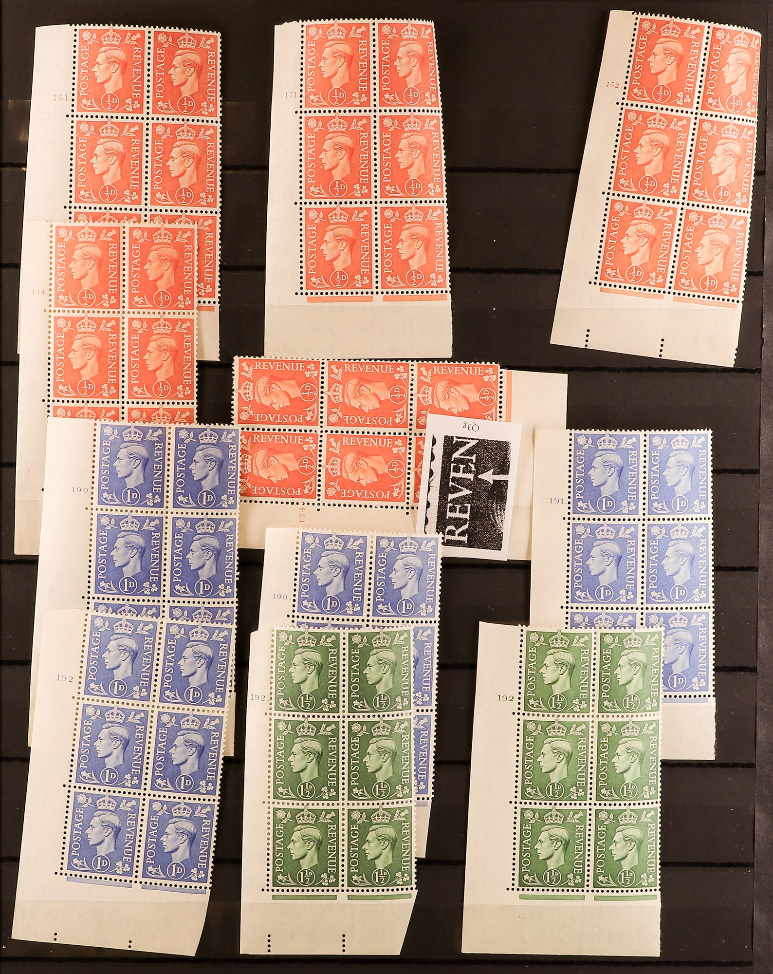 GB.GEORGE VI 1941-42 PALE AND 1950-52 NEW COLOURS CONTROL & CYLINDER BLOCKS OF SIX COLLECTION of all - Image 3 of 6