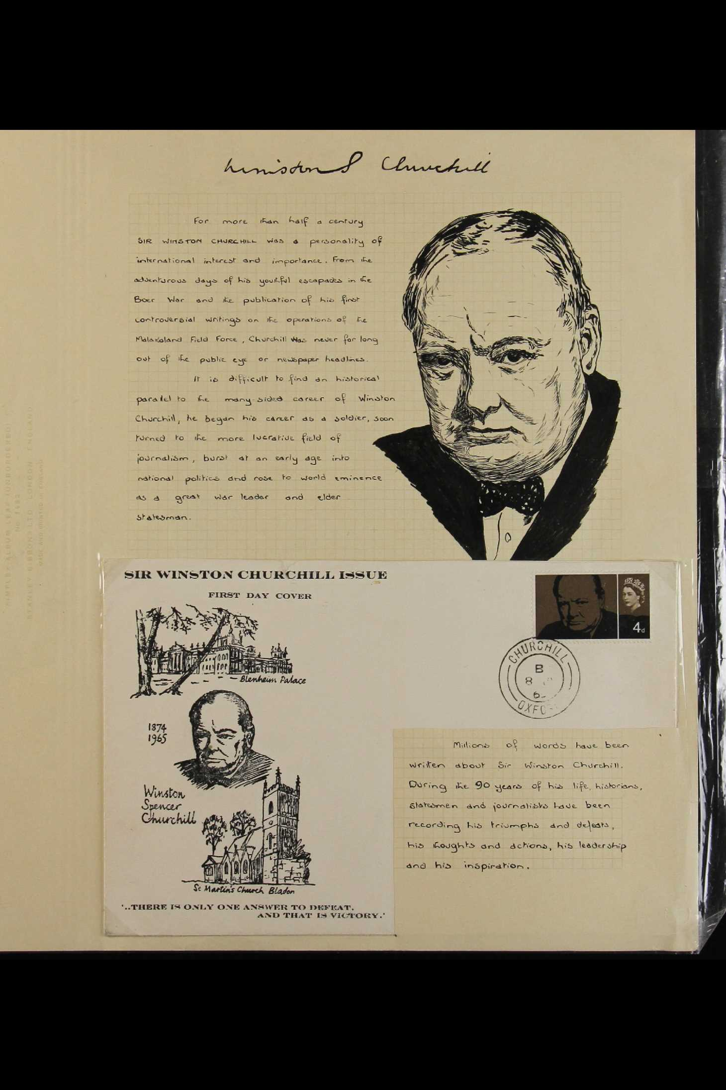 TOPICALS WINSTON CHURCHILL 1965-74 collection incl. 1965 sets on illustrated unaddressed FDC's incl.