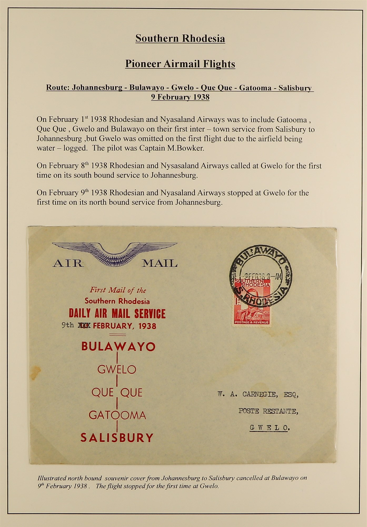 RHODESIA AIRMAIL COVERS COLLECTION 1930's-60's with Rhodesian & Nyasaland Airways (15), Nyasaland- - Image 6 of 10