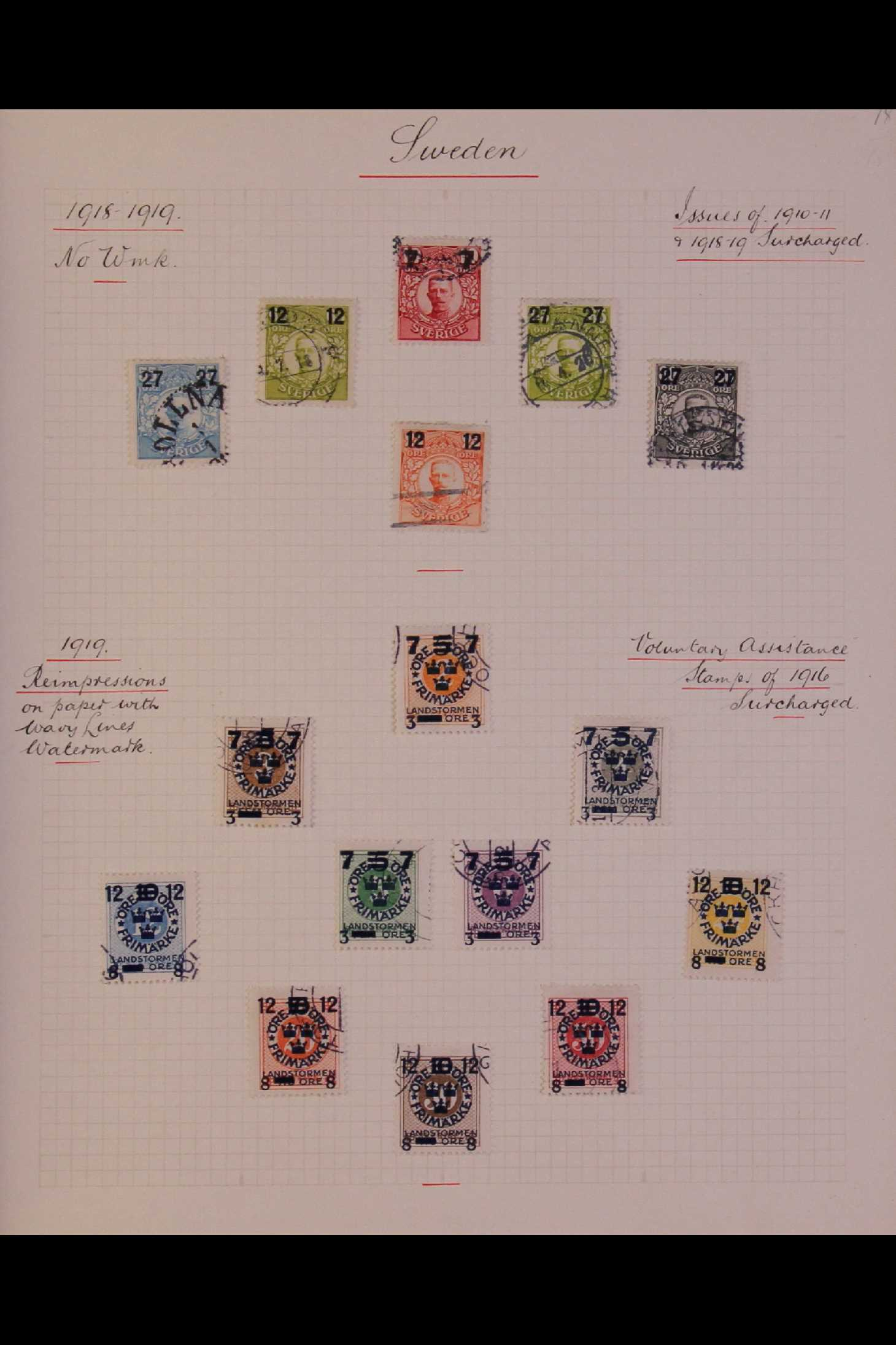 SWEDEN 1903-1966 USED COLLECTION incl. 1903 5k GPO, 1910-19 wmk Crown set, 1916 Landstorm surcharges - Image 3 of 12