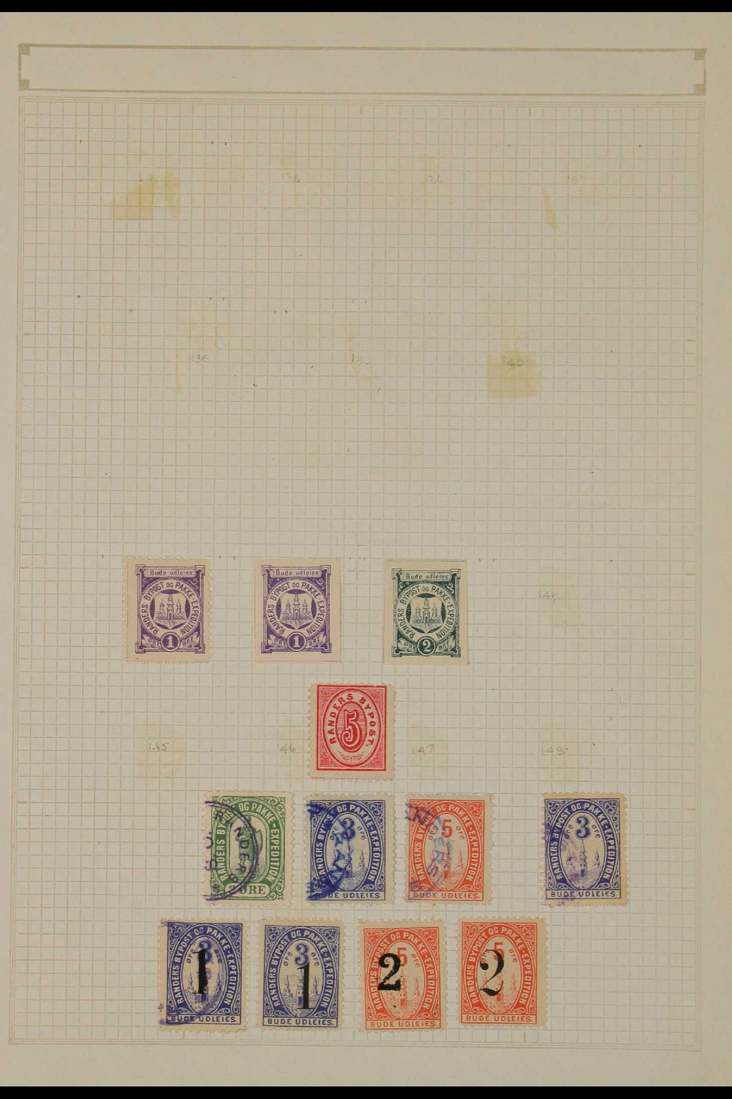 DENMARK LOCAL POST STAMPS - RANDERS 1885-89. MINT & USED ranges incl. inverted surcharges, - Image 2 of 4