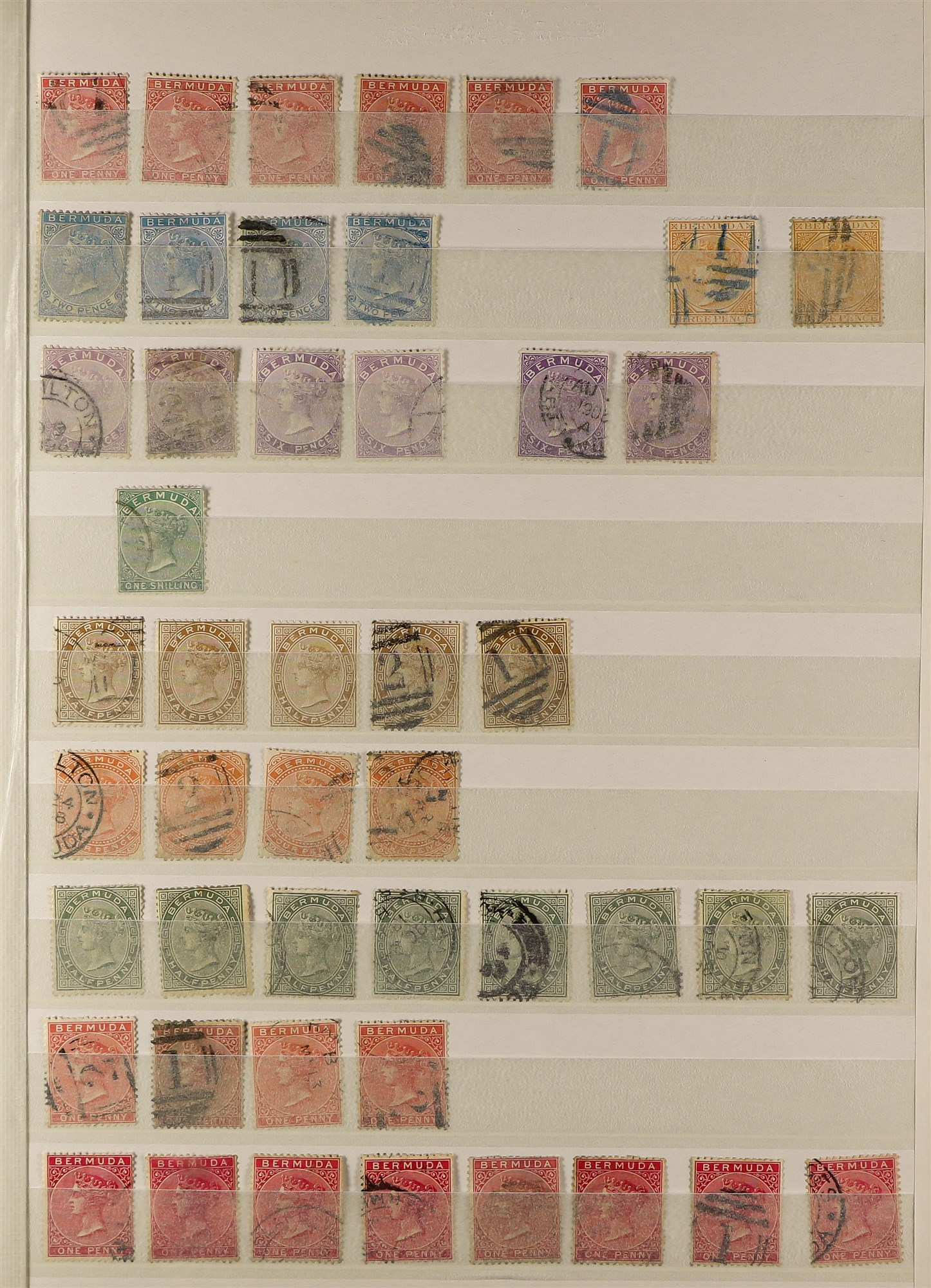 BERMUDA 1865-1952 used collection incl. 1865-1903 CC Wmk to 1s, 1883-1904 CA Wmk to 1s, 1901-10