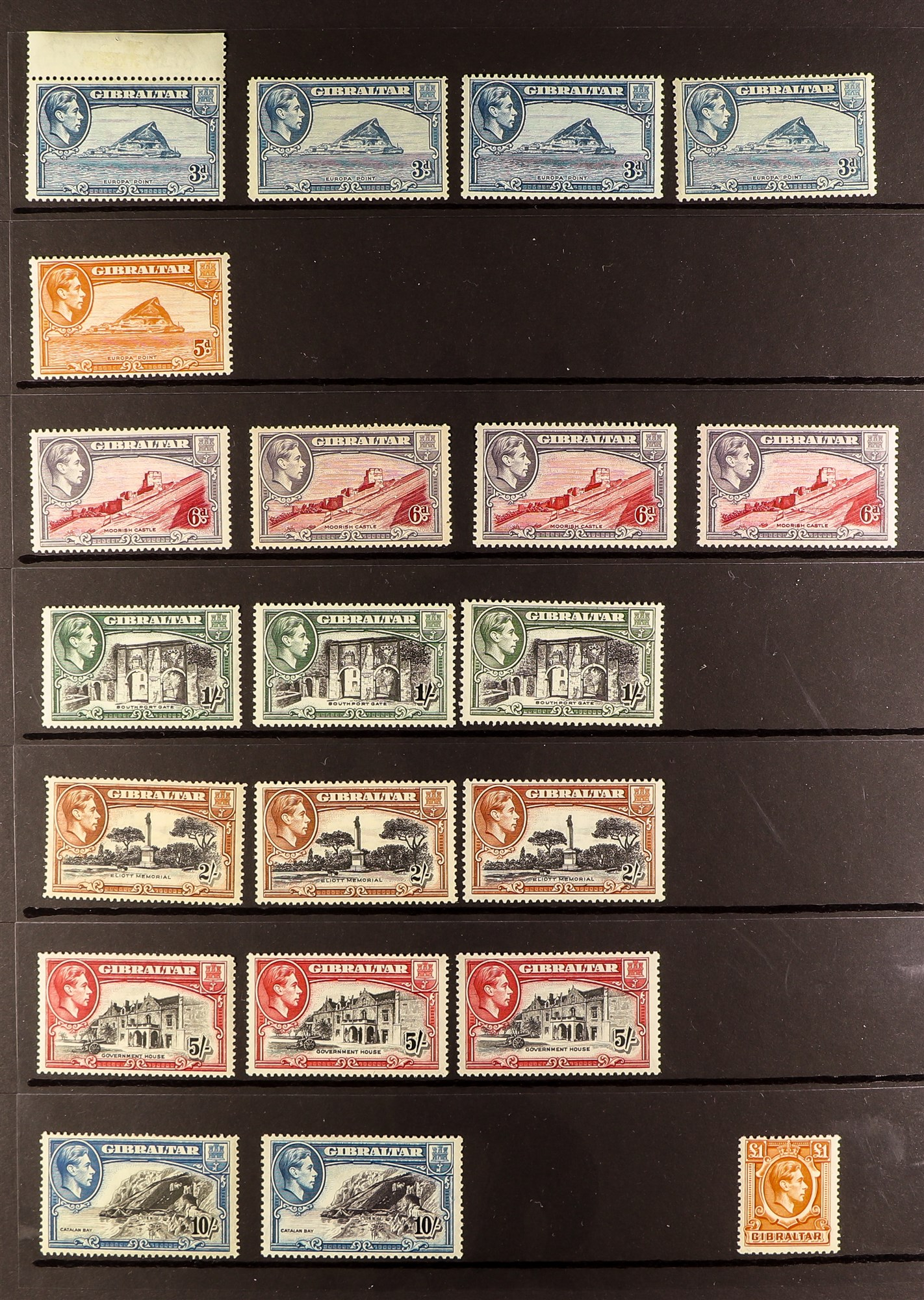 GIBRALTAR 1937-51 FINE MINT KGVI COLLECTION virtually complete incl. most perf changes and most - Image 2 of 3