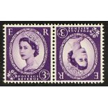 GB.ELIZABETH II 1958-65 3d Wilding, tete-beche pair, never hinged mint.