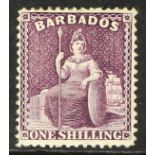 BARBADOS 1875-81 1s purple Britannia, Crown to right, SG 81w, mint with part gum, cat £150.