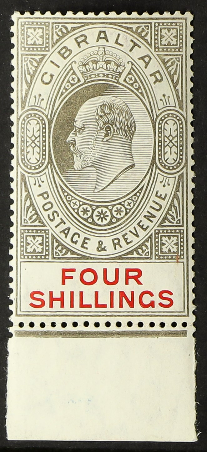 GIBRALTAR 1906-11 4s black and carmine, SG 73, lower marginal example, fine mint. Cat £170