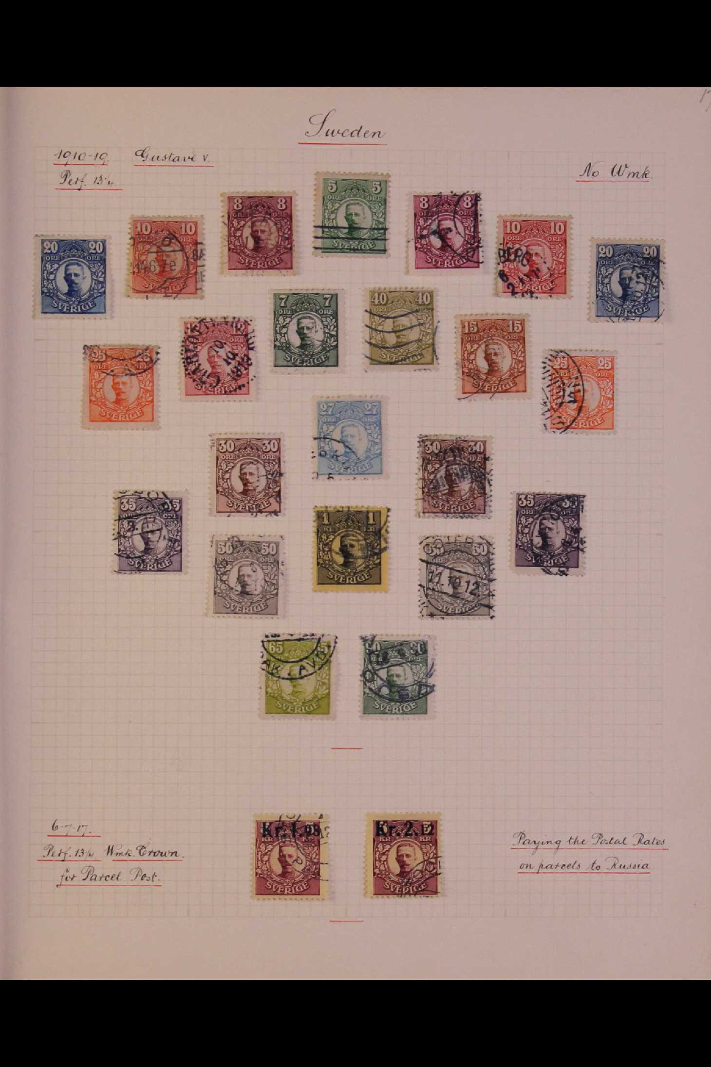 SWEDEN 1903-1966 USED COLLECTION incl. 1903 5k GPO, 1910-19 wmk Crown set, 1916 Landstorm surcharges - Image 2 of 12