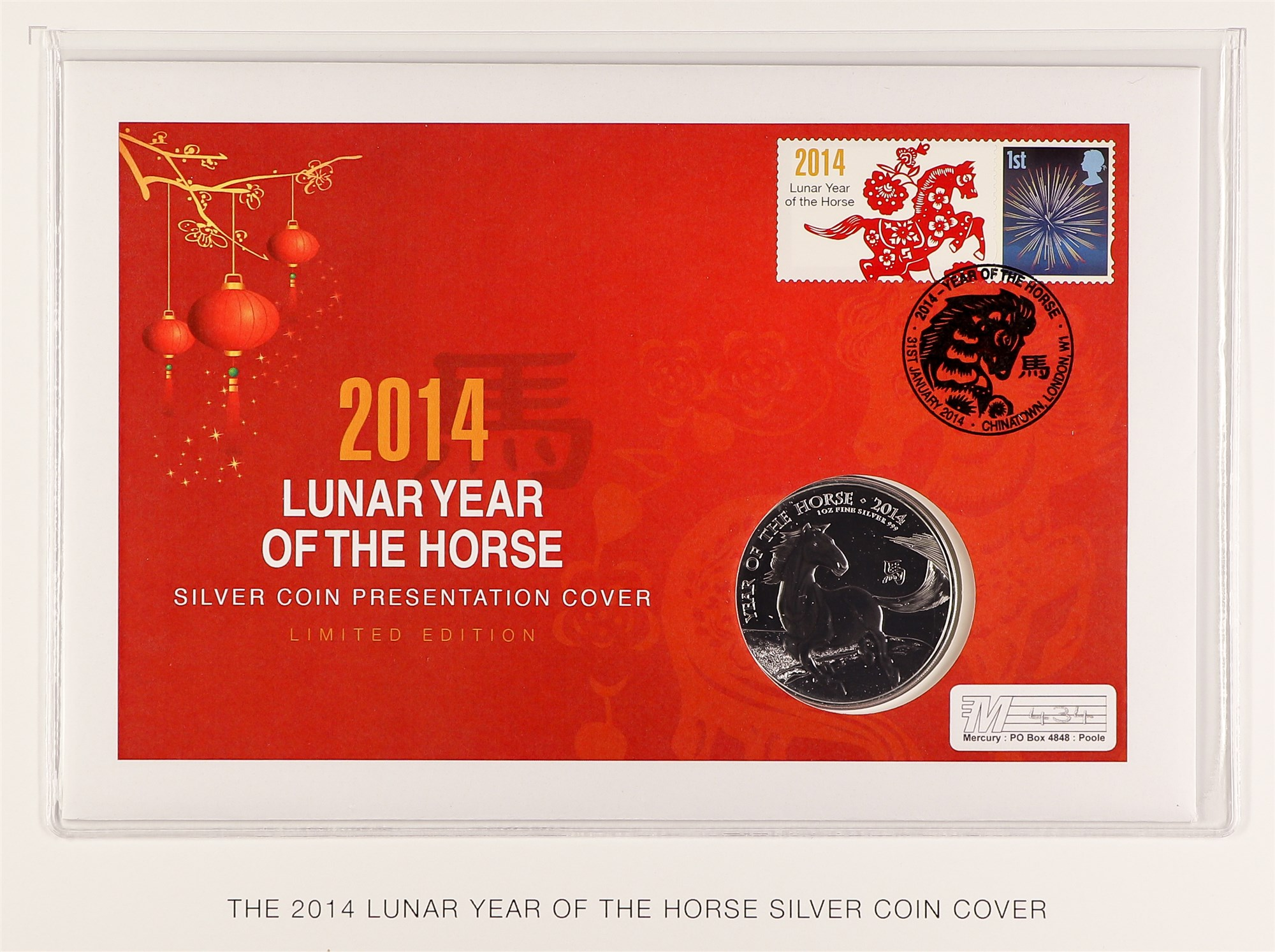 """GB.ELIZABETH II 2014 """"Year of the Horse"""" coin cover with £2 coin (1oz silver)"""
