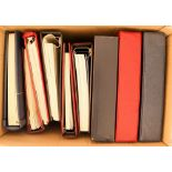 BINDERS/ALBUMS Twelve various binders with blank pages, some with slipcases and four cover albums
