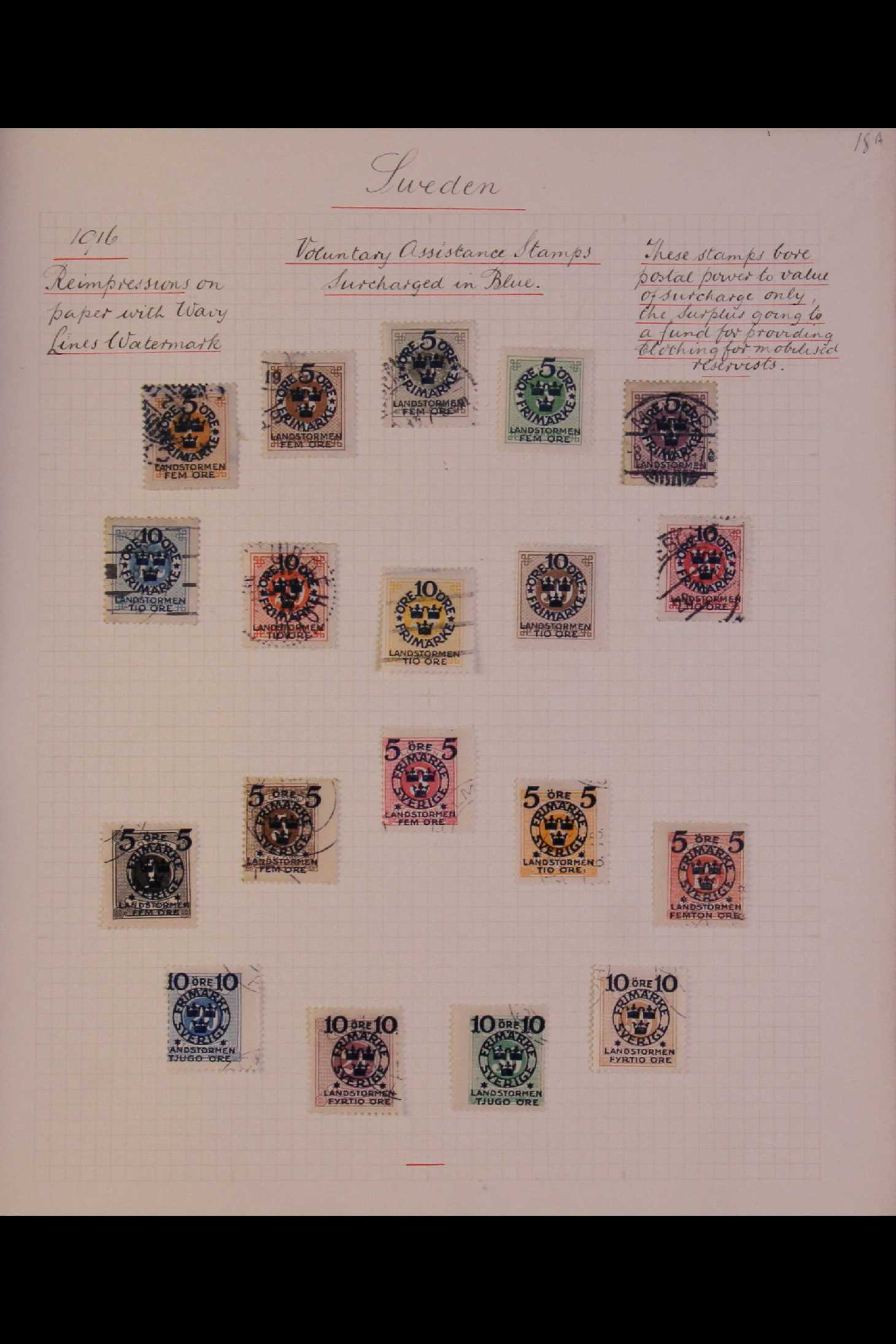SWEDEN 1903-1966 USED COLLECTION incl. 1903 5k GPO, 1910-19 wmk Crown set, 1916 Landstorm surcharges - Image 4 of 12