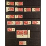 GB.EDWARD VII 1902-11 CONTROLS ½d and 1d collection, in mint or nhm singles, pairs and strips, (57