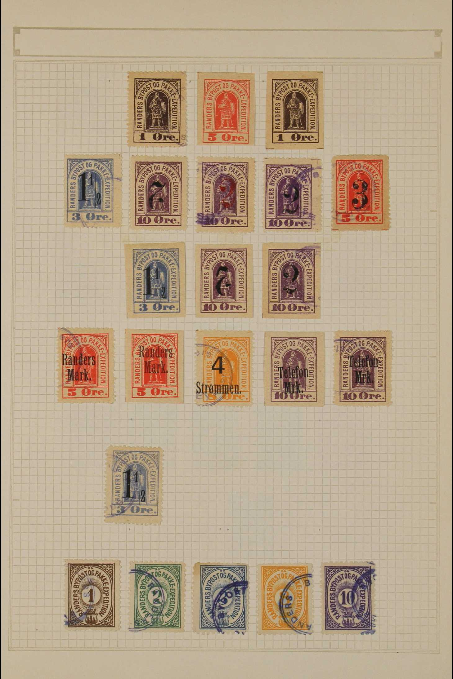 DENMARK LOCAL POST STAMPS - RANDERS 1885-89. MINT & USED ranges incl. inverted surcharges,