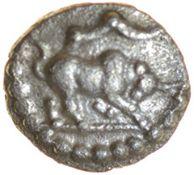 Epaticcus Bull and Eagle. Atrebates. c.AD20-40. Celtic silver minim. 8mm. 0.28g.