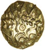 Selsey Dahlia. No Mane. Sills class 2a. Regini. Celtic gold quarter stater. 12-14mm. 1.37g.