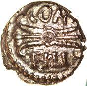 Verica Thunderbolt. Sills class 4. Regini & Atre. c.AD 10-40. Celtic gold 1/4 stater. 10mm. 1.30g.