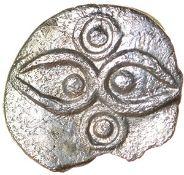 Vepo Hawkeyes. Corieltauvi. c.AD 15-40. Celtic silver minim. 10mm. 0.27g.