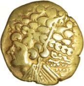 Broad Flan Left. Bellovaci. c.175-120 BC. Celtic gold stater. 25mm. 7.47g.