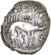 Sun and Moon Proto Boar. Rich Type 6a. Corieltauvi. c.55-45 BC. Celtic silver unit. 13mm. 0.90g.