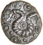 Canterbury Dragon. Cantiaci. c.50-30 BC. Celtic silver unit. 12mm. 0.90g.