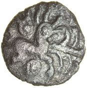 Braybrooke's Hare. Catuvellauni. c.55-45 BC. Celtic silver half unit. 10mm. 0.50g.