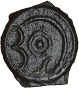 Ambivalent Angular Bull. Holman F4/5-1a. Cantiaci. c.60-50 BC. Celtic potin. 17-19mm. 1.98g.