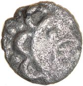 Upavon Moon Head. East Wiltshire. c.30-1 BC. Celtic silver unit. 12mm. 0.89g.